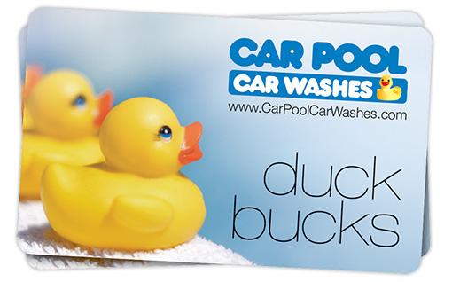 Car Pool Duck Bucks Gift Cards