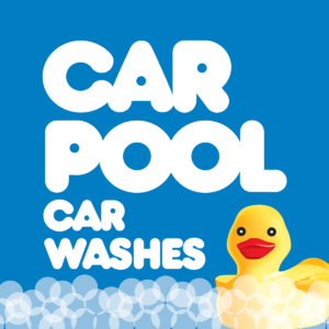 Car Pool Car Washes Logo Round with Duck and Bubbles