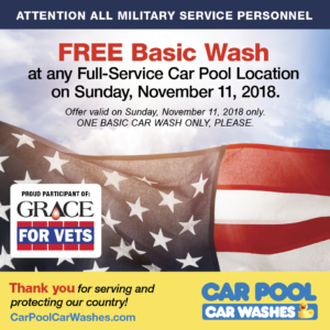 Vets Day Special Free Basic Wash